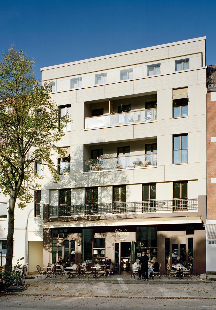 Grindelhof 59: Wohnhaus mit Café und Salon im Erdgeschoss. Foto © Dorfmüller Klier