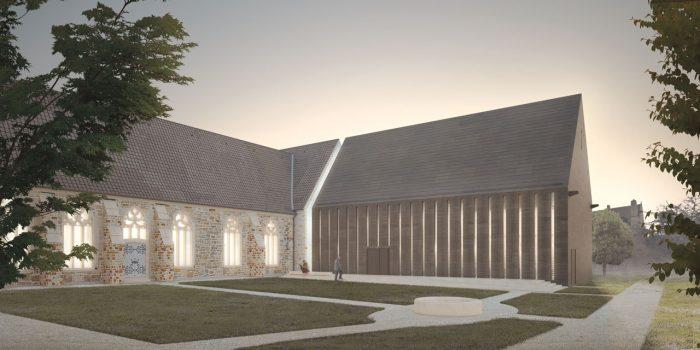 """Der Bibliotheksanbau schließt an den bestehenden Prendelbau des Klosters Loccum an. Er wird vom """"Priorsgarten"""" über eine Treppenanlage mit Rampe erschlossen. Abbildung © Andreas Heller Architects & Designers 2016"""